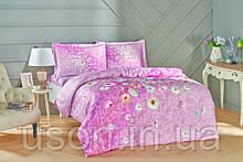 Комплект постельного белья сатин Tac размер евро Serlina Pink