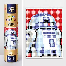 """Картина за номерами з наліпками в тубусі """"Робот синій"""", 33х48см, 1200 стікерів."""