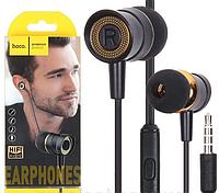 Проводные наушники со стерео звуком микрофоном шумоподавляемые вакуумные черного цвета HOCO M37 для телефона.