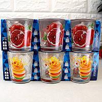 Набір широких склянок з фруктами 6 шт 250 мл