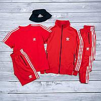Красный спортивны мужской комплект Adidas | Спортивный костюм Adidas | Шорты Adidas + футболка Adidas
