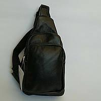 Рюкзак-слінг розмір 25x17x12 натуральна шкіра чорний, фото 1
