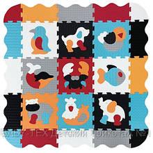 Дитячий розвиваючий ігровий килимок-пазл Baby Great Улюблені тварини, з бортиком, 122х122 см (GB-M2006E)