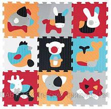Дитячий розвиваючий ігровий килимок-пазл Baby Great Веселий зоопарк, 92х92 см, оранжево-блакитний (GB-M2004)