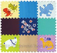 Дитячий розвиваючий ігровий килимок-пазл Baby Great Диско динозаври, 92х92 см