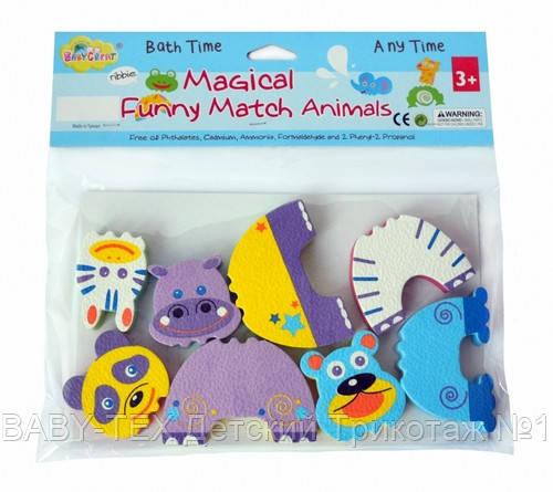 Детские аква-пазлы Baby Great Смешные животные, 4 игрушки