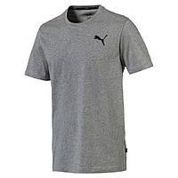 Футболка мужская спортивная Puma Essentials Tee 851741 23 (серая, хлопок, на каждый день, логотип пума)