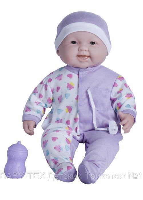 Пупс-великан JC Toys Весельчак в сиреневой шапочке, мягкий, 51 см БРАК УПАКОВКИ