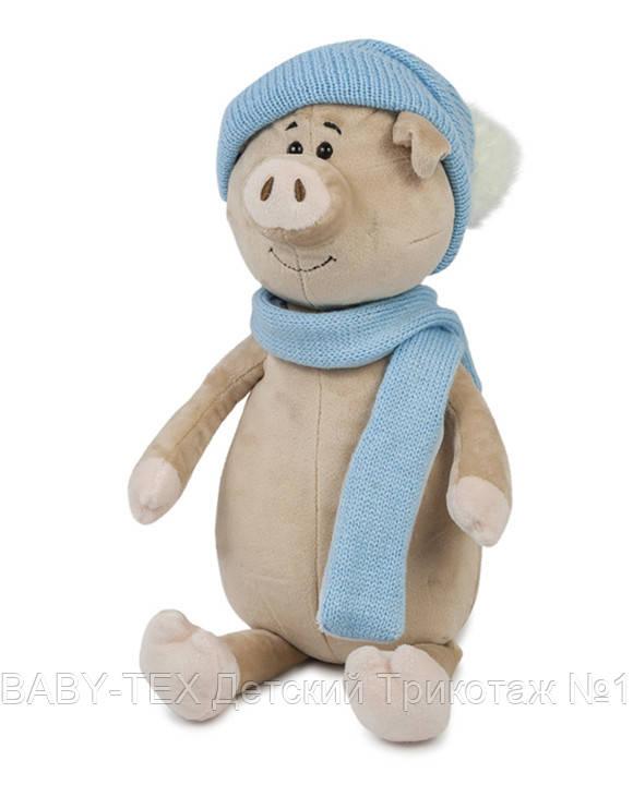 Свин Бен з шарфом і шапкою, 28 см