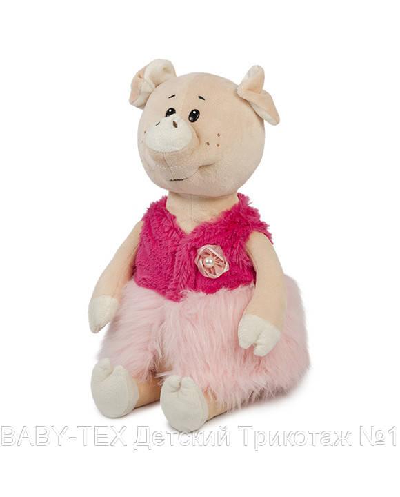 Свинка Буба в меховой жилетке, 21 см