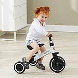 Детский трёхколёсный беговел-трансформер POPPET 3 в 1, чёрно-белый (PP-1701W), фото 6