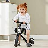 Детский трёхколёсный беговел-трансформер POPPET 3 в 1, чёрно-белый (PP-1701W), фото 7