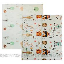Детский двусторонний складной коврик POPPET Тигренок в лесу и Молочная ферма, 200х180x1 см БРАК УПАКОВКИ