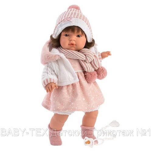 Лялька інтерактивна, Плакса Лола, шатенка в рожево-білому, зі звуком, 38 см (38562)