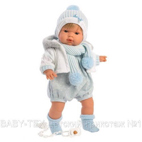 Лялька інтерактивна, Плаксун Саша, світло-русявий в блакитно-білому, зі звуком, 38 см (38561)