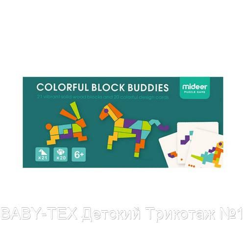 Мозаика-Танграм «Цветная», с уровнями сложности, 20 карточек и 21 фигура (MD1082)