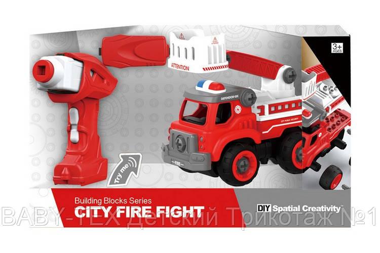 Пожежна машина з драбиною на р/у, 33 деталі, конструктор (LM8034-YZ-1)
