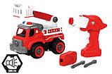 Пожежна машина з драбиною на р/у, 33 деталі, конструктор (LM8034-YZ-1), фото 3