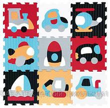 Дитячий розвиваючий ігровий килимок-пазл Baby Great Швидкий транспорт, 92х92 см, оранжево-блакитний (GB-M2005)