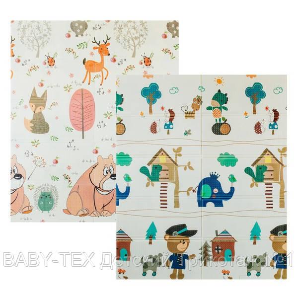 Дитячий двосторонній складаний килимок POPPET Лісові жителі і Добрі сусіди, 150х180х1 см PP008-150)