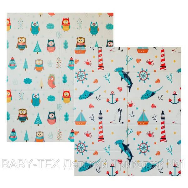 Детский двусторонний складной коврик POPPET Морской сезон и Зимние совушки, 150х180x1 см (PP007-150)
