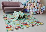 Дитячий двосторонній складаний килимок POPPET Транспорт і Зоолетчики, 200х180х1 см (PP005-200), фото 9