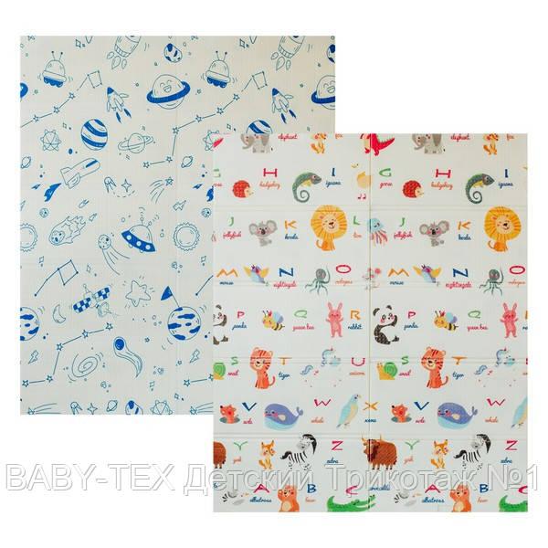 Дитячий двосторонній складаний килимок POPPET Світ тварин і Графічний космос, 150х180х1см (PP004-150)