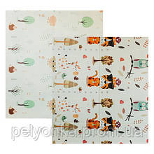 Детский двусторонний складной коврик POPPET Тигренок в лесу и Молочная ферма, 200х180x1 см (PP001-200)