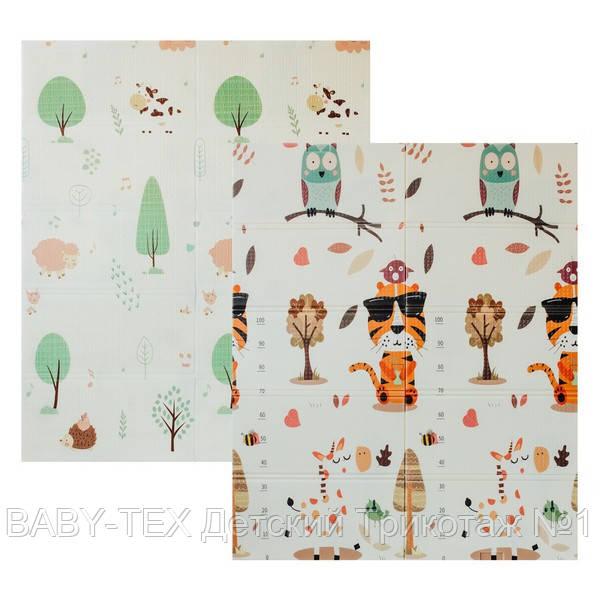 Дитячий двосторонній складаний килимок POPPET Тигреня в лісі і Молочна ферма, 150х180х1 см (PP001-150)
