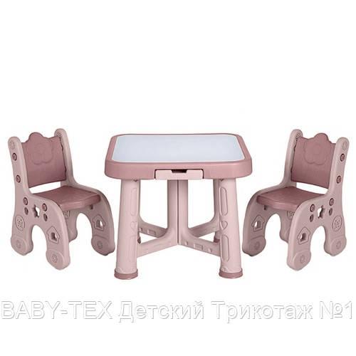 Детский функциональный столик POPPET Пудра и два стульчика