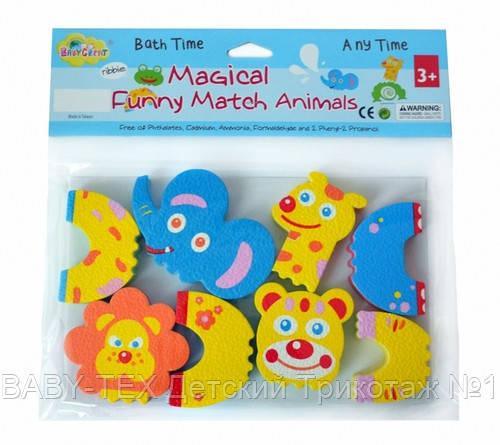 Детские аква-пазлы Baby Great Смешные животные, 4 игрушки БРАК УПАКОВКИ