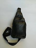 Рюкзак-слинг размер 23х16х10 натуральная кожа чёрный, фото 1