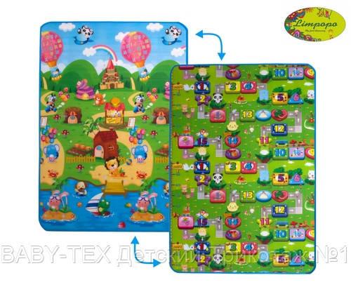 Детский двухсторонний коврик Limpopo Солнечный день и Цветные циферки, 120х180 см