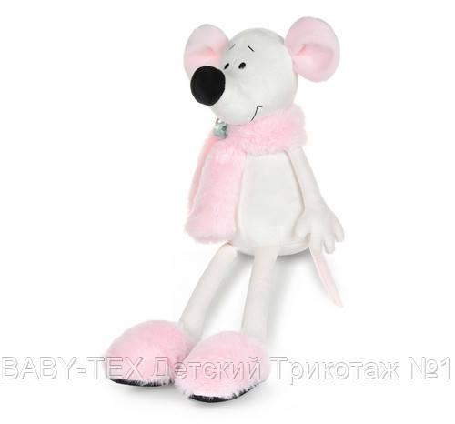 Мягкая игрушка MAXI TOYS Мышка Носатик в меховом шарфе и тапочках, 23 см