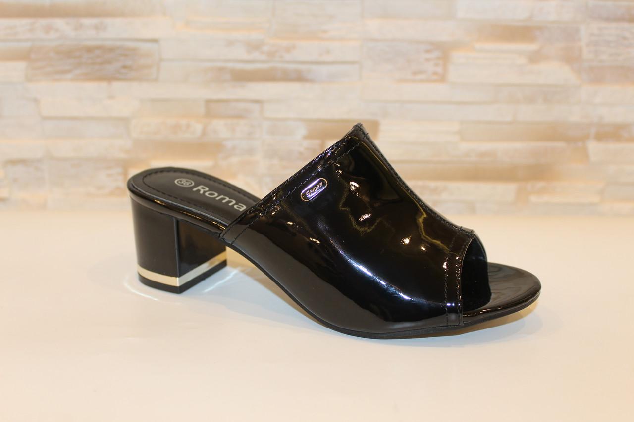 Шлепанцы женские черные на каблуке Б1105