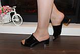 Шлепанцы женские черные на каблуке Б1105, фото 4