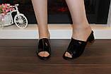 Шлепанцы женские черные на каблуке Б1105, фото 5
