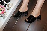Шлепанцы женские черные на каблуке Б1105, фото 6