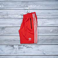 Красные мужские шорты Adidas с карманами на замках