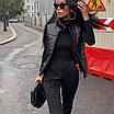 Женская стеганная жилетка из эко кожи, фото 3