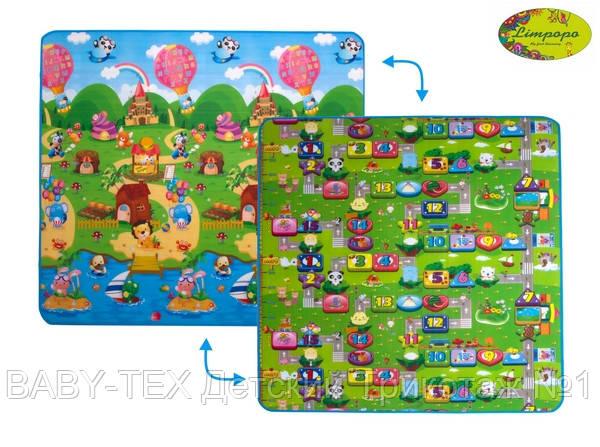 Детский двусторонний коврик Limpopo Солнечный день и Цветные циферки, 200х180 см