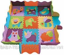 Детский коврик-пазл Baby Great Веселый зоопарк, с бортиком, 122х122 см БРАК УПАКОВКИ