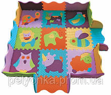 Дитячий килимок-пазл Baby Great Веселий зоопарк, з бортиком, 122х122 см ШЛЮБ УПАКОВКИ