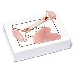 Роликовый Массажёр + Скребок ГуаШа Сердце - Розовый Кварц