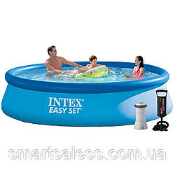 Надувний басейн Intex 28142 - 3, 396 х 84 см (2 006 л/год, підстилка, тент, насос)