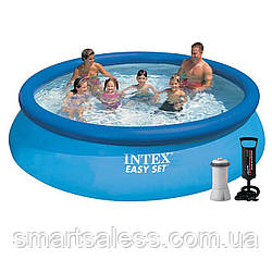 Надувний басейн Intex 28130 - 5, 366 х 76 см (3 785 л/год, підстилка, тент, насос)