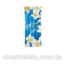 Пляжный надувной матрас с подголовником Intex 58772 «Вдохновение», 178 х 84 см, цветы