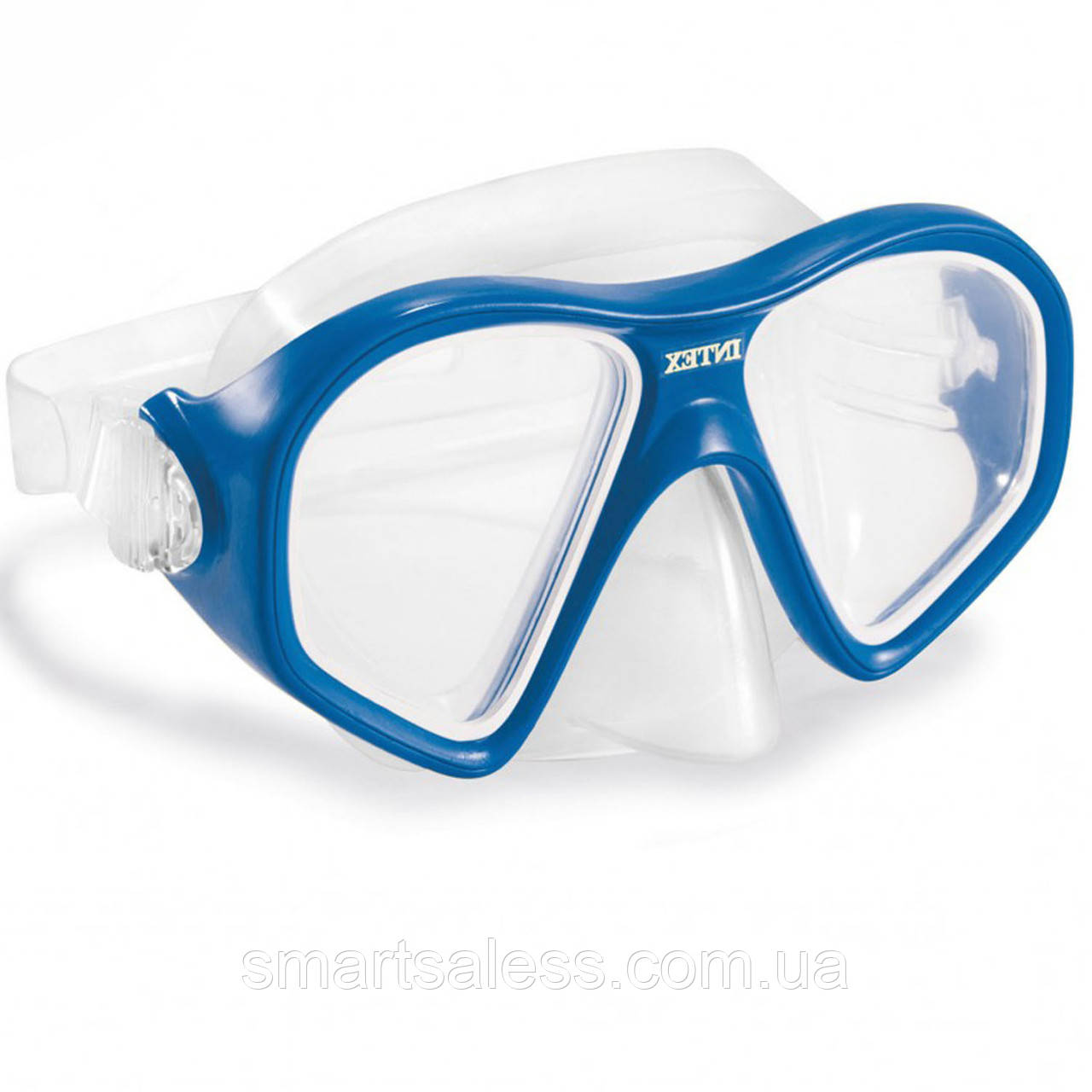Маска для плавания Intex 55977, размер L (14+), обхват головы ≈ 54-65 см,синяя