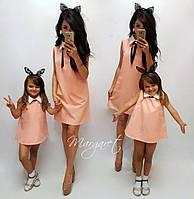 Летние платья для мамы и дочки с белым воротником