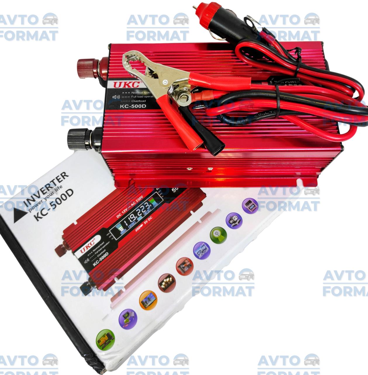 Авто инвертор UKC 12V-220V 500W, Преобразователь напряжения 12В 220В 500Вт